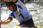 06.07.2013 La Seu D'Urgell, Spain. ICF Canoe Slalom World Cup. Picture show Slafkovsky Alexander (SVK) in action during canoe single C1 men Final at Parc Olimpic del Segre