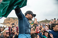 BELLS BEACH, Torquay, Victoria, Australia    (Thursday, April 5, 2018) Italo Ferreira (BRA) - The Rip Curl Pro Bells Beach, Stop No. 2 on the World Surf League (WSL) Championship Tour (CT), wrapped up today with some solid clean 2m waves coming through Bells on the incoming tide.<br /> Italo Ferreira (BRA) could not have chosen a more dramatic context in which to earn his first-ever Championship Tour event win. Thursday afternoon at the Rip Curl Pro Bells Beach, the electric Brazilian defeated the man of the hour, three-time World Champion Mick Fanning (AUS), whose impending retirement after Bells added a bittersweet weight to the proceedings. <br /> <br /> <br /> But when the two paddled out for what would be a first for one of them, and a last for the other, none of that mattered to Ferreira. Instead, he showcased what he is capable of, and made his first serious step toward joining a World Title conversation.<br /> <br /> Plus, if you're going to win your first CT event, taking home the most coveted trophy in surfing isn't a bad way to go about it. Add Mick Fanning to the mix and it's even sweeter.<br /> <br /> &quot;I can't believe it,&quot; said Ferreira. &quot;It's just amazing. Mick Fanning is a hero to me. He's inspired me every single day, at every single competition. Remember his movie 3 Degrees? I've seen that 2000 times.&quot; <br /> <br /> Six-time World Champion Stephanie Gilmore (AUS)  took a step toward winning a seventh Title Thursday when she won the Rip Curl Women's Pro Bells Beach. She also became one of just a few surfers -- Mark Richards, Kelly Slater and Mick Fanning among them -- to ring the winner's bell an incredible fourth time. Photo: joliphotos.com