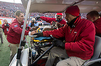 NWA Democrat-Gazette/JASON IVESTER <br /> Arkansas vs Kansas St, Liberty Bowl<br /> Arkansas wide receiver Dominique Reed (87) is carted off the field following a hit during the second quarter on Saturday, Jan. 2, 2016, at the Liberty Bowl in Memphis, Tenn.