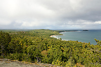 Bands of lake effect rain coming across the Upper Peninsula landscape. Sugarloaf Mountain, Marquette, MI