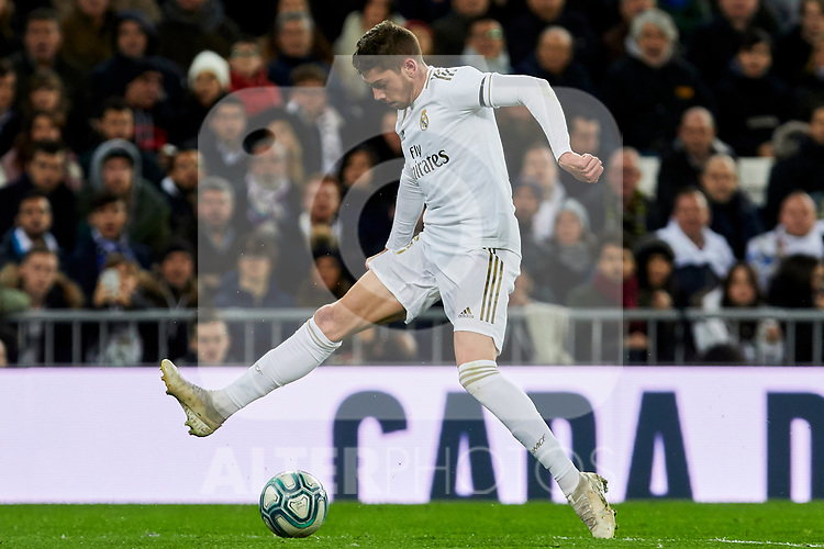 Fede Valverde of Real Madrid during La Liga match between Real Madrid and Real Sociedad at Santiago Bernabeu Stadium in Madrid, Spain. November 23, 2019. (ALTERPHOTOS/A. Perez Meca)