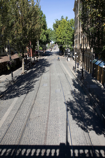 07 October 2009 - Portland, Oregon - The TriMet MAX Light Rail tracks in Old Town, Portland.  Photo Credit: Elizabeth A. Miller/Sipa Press