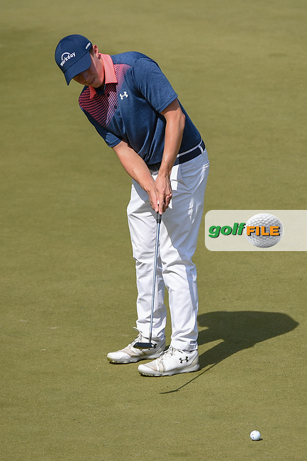 Matt Fitzpatrick (ENG) watches his putt on 11 during day 1 of the WGC Dell Match Play, at the Austin Country Club, Austin, Texas, USA. 3/27/2019.<br /> Picture: Golffile | Ken Murray<br /> <br /> <br /> All photo usage must carry mandatory copyright credit (© Golffile | Ken Murray)