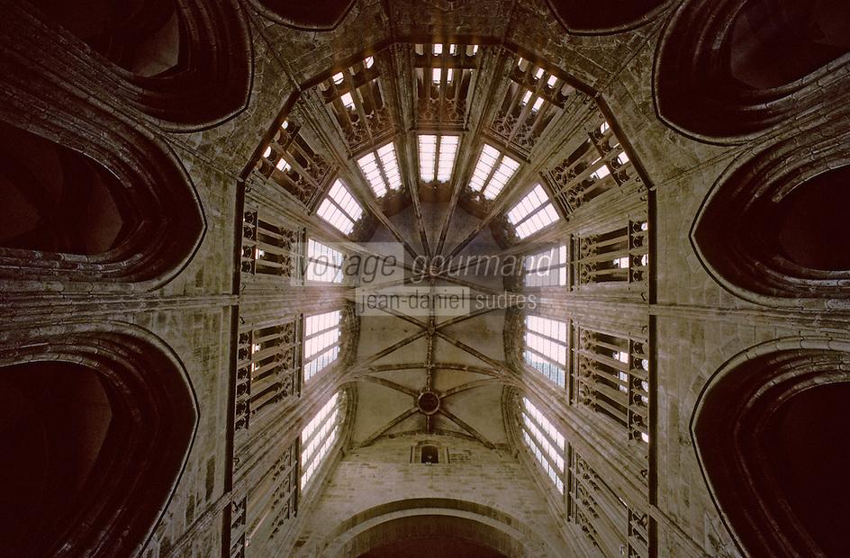 Europe/France/Normandie/Basse-Normandie/50/Manche/Mont Saint-Michel: Voûte du choeur gothique de l'église abbatiale de l'abbaye du Mont Saint Michel