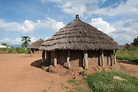 N. Uganda, Kitgum District. Local round thatched houses.