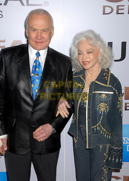 "EDWIN ""BUZZ"" ALDRIN & LOIS (WIFE).""The Great Debaters"" Los Angeles Premiere at the Arclight Cinerama Dome, Hollywood, California, USA..December 11th, 2007.half length black shiny suit jacket gold beads beaded blue jacket arms linked married husband .CAP/ADM/BP.©Byron Purvis/AdMedia/Capital Pictures."