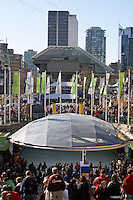 Crowds in Robson Square during the 2020 Winter Olympic Games, Vancouver, British Columbia, Canada