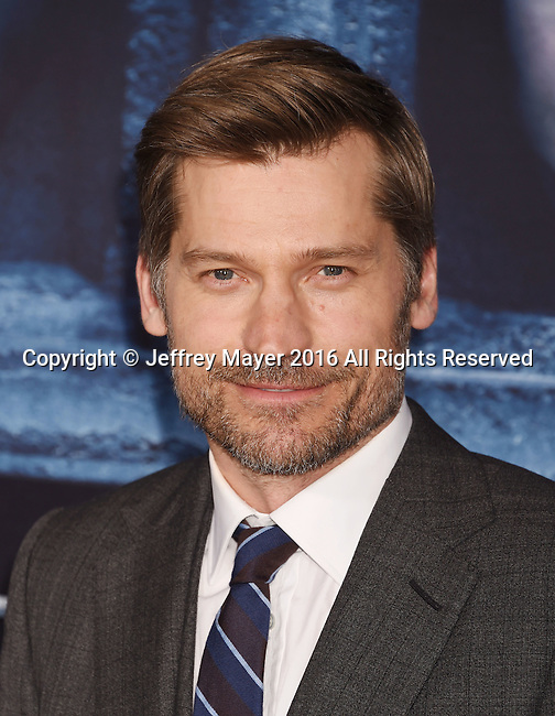 HOLLYWOOD, CA - APRIL 10: Actor Nikolaj Coster-Waldau arrives at the premiere of HBO's 'Game of Thrones' Season 6 at the TCL Chinese Theatre on April 10, 2016 in Hollywood, California.