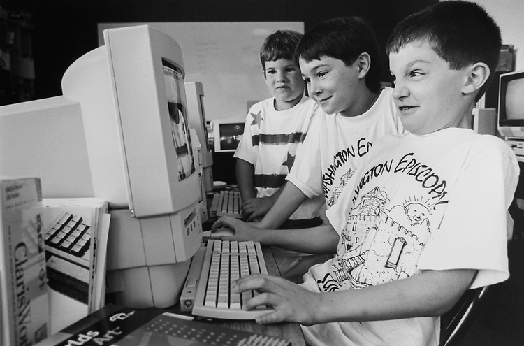 Hunter Gosnell (6), Scott Willey (8) and Max Hulme (8) at Sports/Computer summer camp, 6 week program at Washington Episcopal School in Bethesda, Maryland on July 11, 1994. (Photo by Maureen Keating/CQ Roll Call via Getty Images)