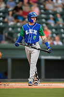 Center fielder Kyle Isbel (6) of the Lexington Legends at bat during a game against the Greenville Drive on Sunday, September 2, 2018, at Fluor Field at the West End in Greenville, South Carolina. Greenville won, 7-4. (Tom Priddy/Four Seam Images)