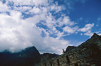 Machu Picchu mountain (3050 m) towering above the Inca ruins, Machu Picchu, Peru, 2016.
