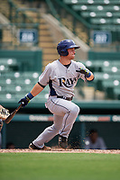 GCL Rays designated hitter Erik Ostberg (14) follows through on a swing during a game against the GCL Orioles on July 21, 2017 at Ed Smith Stadium in Sarasota, Florida.  GCL Orioles defeated the GCL Rays 9-0.  (Mike Janes/Four Seam Images)