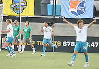 Marta #10 of Marta's XI after scoring her first goal during the WPS All-Star game against Abby's XI at the KSU Stadium in Kennesaw, Georgia on June 30 2010. Marta XI won 5-2.
