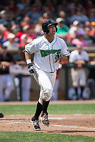 Bruce Yari (24) of the Dayton Dragons watches the flight of the ball as he starts down the first base line against the West Michigan Whitecaps at Fifth Third Field on May 29, 2017 in Dayton, Ohio.  The Dragons defeated the Whitecaps 4-2.  (Brian Westerholt/Four Seam Images)