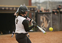 NWA Democrat-Gazette/BEN GOFF @NWABENGOFF<br /> Haley Cornell, Bentonville catcher, hits a foul ball Thursday, March 16, 2017, during the softball game against Van Buren at Bentonville's Tiger Athletic Complex.