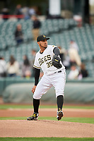 Salt Lake Bees starting pitcher Osmer Morales (35) delivers a pitch to the plate against the Sacramento River Cats at Smith's Ballpark on April 19, 2018 in Salt Lake City, Utah. Salt Lake defeated Sacramento 10-7. (Stephen Smith/Four Seam Images)
