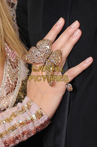 HEIDI KLUM'S RING.Arrivals at the 52nd Annual GRAMMY Awards held at The Staples Center in Los Angeles, California, USA..January 31st, 2010.grammys hand butterfly jewellery jewelry gold silver.CAP/RKE/DVS.©DVS/RockinExposures/Capital Pictures