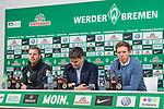 13.01.2018, Weserstadion, Bremen, GER, 1.FBL, SV Werder Bremen vs TSG 1899 Hoffenheim<br /> <br /> im Bild<br /> &Uuml;bersicht, Florian Kohfeldt (Trainer SV Werder Bremen), Michael Rudolph (Direktor Kommunikation Werder Bremen), Julian Nagelsmann (1899 Hoffenheim #Trainer) bei PK / Pressekonferenz nach dem Spiel, <br /> <br /> Foto &copy; nordphoto / Ewert
