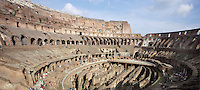 Interior view of Colosseum or Flavian Amphitheatre built c70-82 AD showing structure beneath seats and stage, Rome, Italy, Europe.