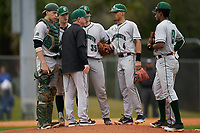 Dartmouth Big Green head coach Bob Whalen talks with pitcher Austen Michel (35), catcher Ben Rice (9), third baseman Justin Murray, shortstop Bryce Daniel (4), and second baseman Blake Crossing (13) during a game against the Indiana State Sycamores on February 21, 2020 at North Charlotte Regional Park in Port Charlotte, Florida.  Indiana State defeated Dartmouth 1-0.  (Mike Janes/Four Seam Images)