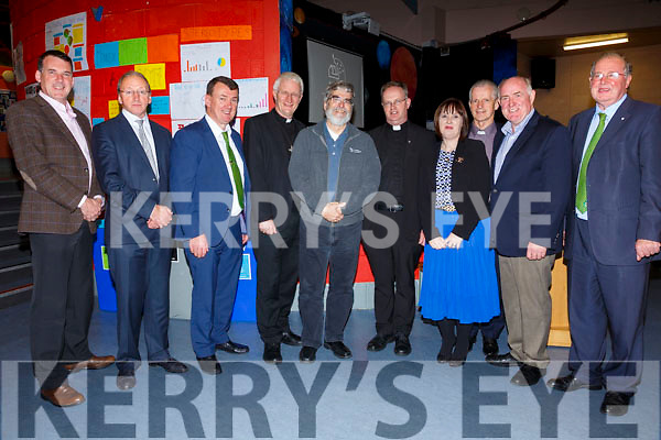 Pictured with the Pope's Astronomer, Bro. Guy Consolmagno, on Tuesday in Colaiste na Sceilge were l-r; Niall Smith(Blackrock Observatory), John O'Connor(Principal CnaS), Mayor of Kerry John Sheehan, Bishop Ray Browne, Bro. Guy Consolmagno, Fr. Pat Creen-Lynch, Belinda Gascoign(Skellig CRI), Fr Larry Kelly, Steve Lynott(Kerry International Dark Skies) & John Griffin(KCC).