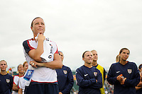 Abby Wambach (20) of the United States (USA) watches a video saluting her 100th career goal. The United States (USA) Women's National Team defeated Canada (CAN) 1-0 during an international friendly at Marina Auto Stadium in Rochester, NY, on July 19, 2009.
