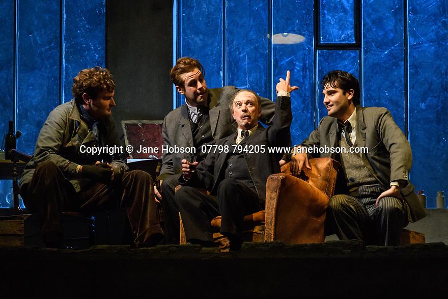 "English National Opera present their fourth revival of Jonathan Miller's production of Puccini's ""La Boheme"", in which Natalya Romaniw makes her ENO debut. Cast is: Natalya Romaniw (Mimi), Jonathan Tetelman (Rodolfo), Nicholas Lester (Marcello), Simon Butteriss (Benoit/Alcindoro), Nadine Benjamin (Musetta), David Soar (Colline), Bozidar Smiljanic (Schaunard). Picture shows: Nicholas Lester (Marcello), Bozidar Smiljanic (Schaunard), Simon Butteriss (Benoit), Jonathan Tetelman (Rodolfo)"