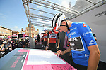 Maglia Azzurra Giulio Ciccone (ITA) and Trek-Segafredo at sign on before Stage 11 of the 2019 Giro d'Italia, running 221km from Carpi to Novi Ligure, Italy. 22nd May 2019<br /> Picture: Massimo Paolone/LaPresse | Cyclefile<br /> <br /> All photos usage must carry mandatory copyright credit (© Cyclefile | Massimo Paolone/LaPresse)