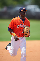 GCL Astros outfielder Daz Cameron (54) jogs to the dugout during a game against the GCL Braves on July 23, 2015 at the Osceola County Stadium Complex in Kissimmee, Florida.  GCL Braves defeated GCL Astros 4-2.  (Mike Janes/Four Seam Images)