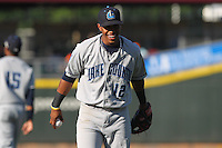 Lake County Captains shortstop Francisco Lindor #12 throws prior to the game against the Dayton Dragons at Fifth Third Field on June 25, 2012 in Dayton, Ohio. Lake County defeated Dayton 8-3. (Brace Hemmelgarn/Four Seam Images)