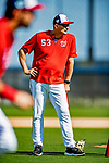 21 February 2019: Washington Nationals AAA Manager Randy Knorr watches over infield drills during a Spring Training workout at the Ballpark of the Palm Beaches in West Palm Beach, Florida. Mandatory Credit: Ed Wolfstein Photo *** RAW (NEF) Image File Available ***