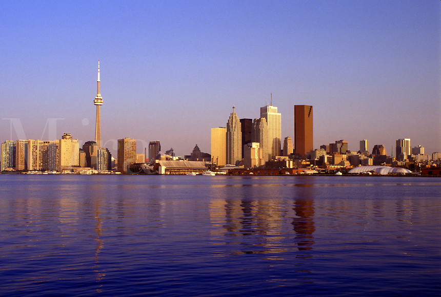 Toronto, Canada, Ontario, Lake Ontario, Skyline of downtown Toronto from Toronto Inner Harbor on Lake Ontario.