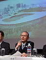 December 22, 2015, Tokyo, Japan - Chairman Takashi Yamauchi of Japans general contractor Taisei Corporation speaks during a news conference in Tokyo on Tuesday, December 22, 2015, explaining the winning design for the new National Stadium. The government picked the design by architect Kengo Kuma, putting an end to the longstanding brouhaha over the venue that is expected to be the centerpiece of the 2020 Tokyo Olympics.  (Photo by Natsuki Sakai/AFLO) AYF -mis-