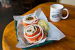 The bagel with lox (smoked salmon) at Grandma's Coffee House in Keokea, Upcountry, Maui, Hawaii
