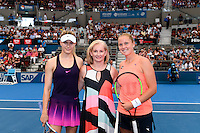 EUGENIE BOUCHARD of CANADA (CAN) and SHELBY ROGERS of UNITED STATES OF AMERICA (USA) <br /> <br /> 2017 BRISBANE INTERNATIONAL, PAT RAFTER ARENA, BRISBANE TENNIS CENTRE, BRISBANE, QUEENSLAND, AUSTRALIA<br /> <br /> &copy; TENNIS PHOTO NETWORK