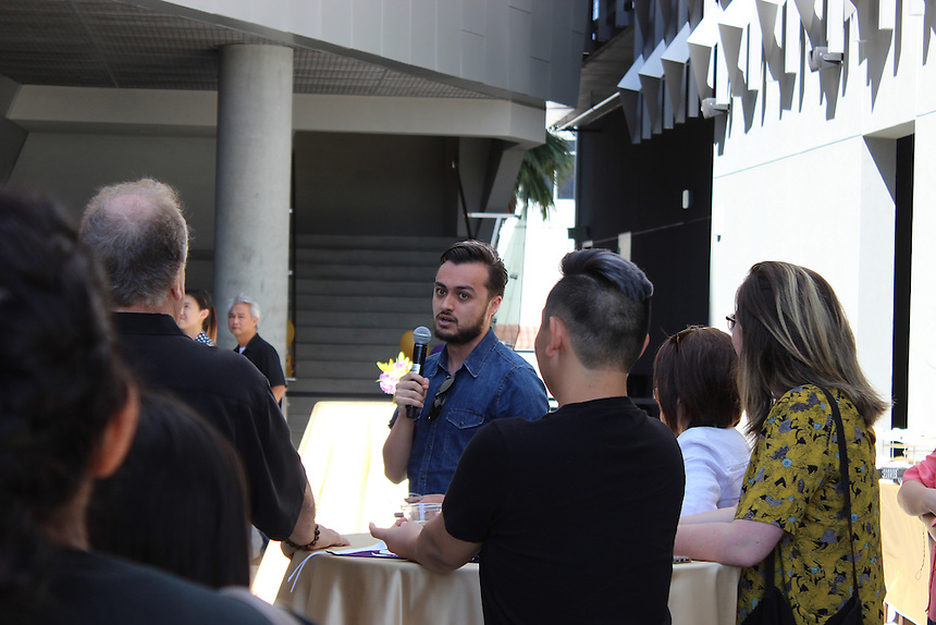 Manny Jaquez '13 speaks to parents and accepted undergraduate students at a welcome event at Emerson Los Angeles on March 29, 2015.