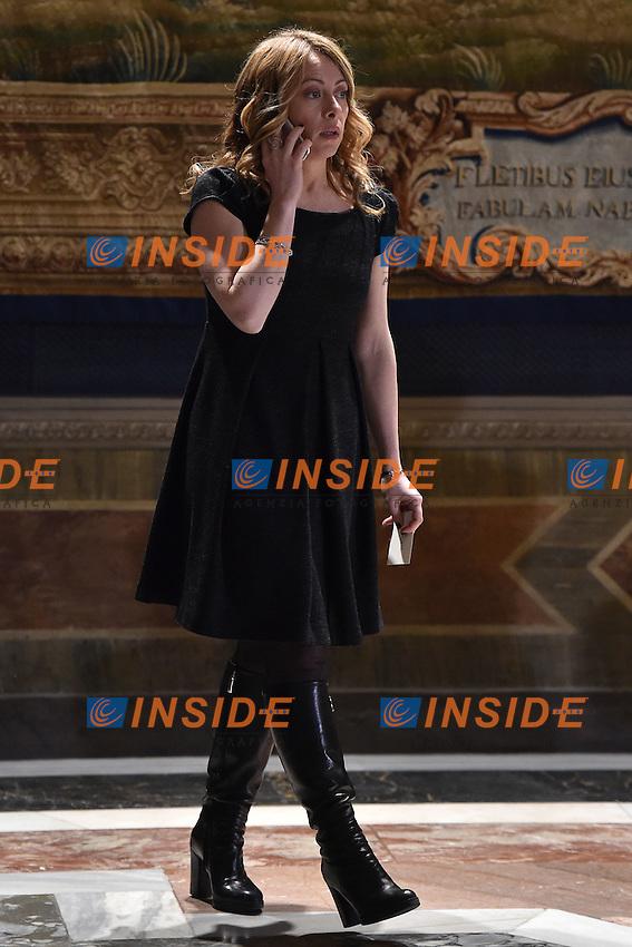 Giorgia Meloni <br /> Roma 03-02-2015 Quirinale <br /> Insediamento Presidente della Repubblica italiana. Newly elected President of italian Republic <br /> Foto Andrea Staccioli / Insidefoto