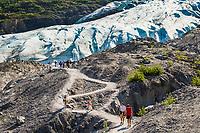Hikers along the pathway leading to Exit Glacier, near Seward, Kenai Peninsula, southcentral, Alaska.