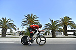 Trek-Segafredo team rider does a recon of the course before the start of Stage 7 of the 53rd edition of the Tirreno-Adriatico 2018 a 10km individual time trial around San Benedetto del Tronto, Italy. 13th March 2018.<br /> Picture: LaPresse/Fabio Ferrari | Cyclefile<br /> <br /> <br /> All photos usage must carry mandatory copyright credit (&copy; Cyclefile | LaPresse/Fabio Ferrari)