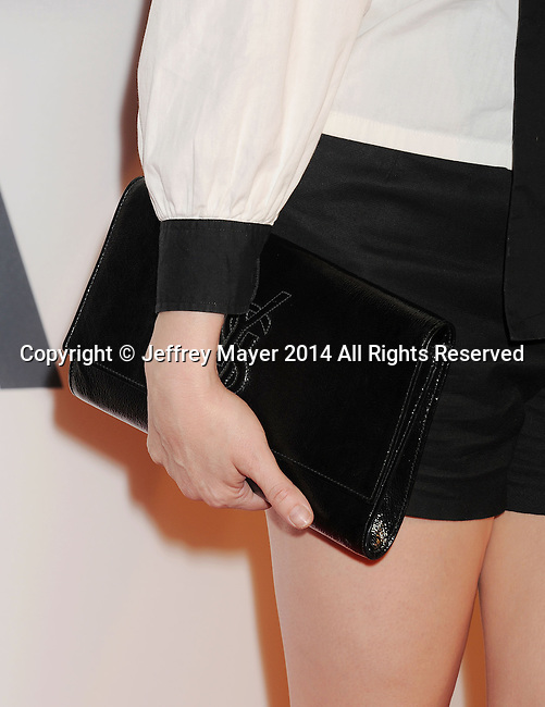 LOS ANGELES, CA- OCTOBER 01: Actress Rose McGowan (handbag detail) at The Academy of Motion Picture Arts and Sciences' Hollywood Costume Opening Party at the Wilshire May Company Building on October 1, 2014 in Los Angeles, California.