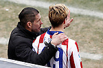 Atletico de Madrid's coach Diego Pablo Cholo Simeone with Fernando Torres during La Liga match.February 7,2015. (ALTERPHOTOS/Acero)Simeone will be coach from Atletico Madrid until 2020, in the pic: