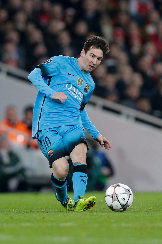 Barcelona's Lionel Messi in action during todays match  <br /> <br /> Photographer Craig Mercer/CameraSport<br /> <br /> Football - UEFA Champions League Round of 16 - Arsenal v Barcelona - Tuesday 23rd February 2016 - Emirates Stadium - London<br /> <br /> &copy; CameraSport - 43 Linden Ave. Countesthorpe. Leicester. England. LE8 5PG - Tel: +44 (0) 116 277 4147 - admin@camerasport.com - www.camerasport.com
