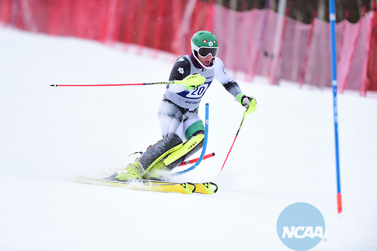 FRANCONIA, NH - MARCH 10:   Tanguy Nef of Dartmouth  competes during the Men's Slalom event at the Division I Men's and Women's Skiing Championships held at Cannon Mountain on March 10, 2017 in Franconia, New Hampshire. (Photo by Gil Talbot/NCAA Photos via Getty Images)