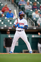 Buffalo Bisons Anthony Alford (26) bats during an International League game against the Norfolk Tides on June 21, 2019 at Sahlen Field in Buffalo, New York.  Buffalo defeated Norfolk 2-1, the first game of a doubleheader.  (Mike Janes/Four Seam Images)