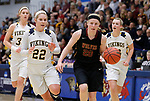 SIOUX FALLS, SD: MARCH 10:  Haley Froelich #20 of Northern State races past Augustana defenders during the 2018 NCAA Division II Women's Basketball Central Region Tournament at the Elmen Center in Sioux Falls, S.D.  (Photo by Dick Carlson/Inertia)