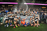 Referee John Lacey of Ireland celebrates with the Barbarians after they win the Killik Cup match between the Barbarians and Argentina at Twickenham Stadium on Saturday 1st December 2018 (Photo by Rob Munro/Stewart Communications)