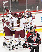 Kenzie Kent (BC - 12), Haley Skarupa (BC - 22), Grace Bizal (BC - 2), Lexi Bender (BC - 21), Tori Hickel (NU - 55) - The Boston College Eagles defeated the Northeastern University Huskies 5-1 (EN) in their NCAA Quarterfinal on Saturday, March 12, 2016, at Kelley Rink in Conte Forum in Boston, Massachusetts.