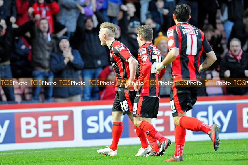 Matt Ritchie of AFC Bournemouth celebrates - AFC Bournemouth vs Yeovil Town - Sky Bet Championship Football at the Goldsands Stadium, Bournemouth, Dorset - 26/12/13 - MANDATORY CREDIT: Denis Murphy/TGSPHOTO - Self billing applies where appropriate - 0845 094 6026 - contact@tgsphoto.co.uk - NO UNPAID USE