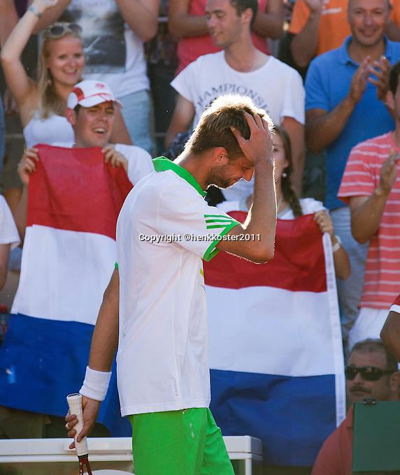23-05-11, Tennis, France, Paris, Roland Garros, Thomas Schoorel kan het nouwelijks geloven< hij wint de eerste ronde van zijn eerts Grandslam
