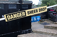 Signage warning spectators near the edge of the terracing Danger Sheer Drop during Bromley vs Chesterfield, Vanarama National League Football at the H2T Group Stadium on 7th September 2019